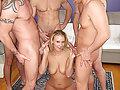 Blonde slut Natalie Norton sucks a roomful of big cocks