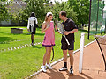 Sexy tennis playing girls pissed on by horny dude