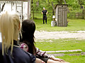 Blonde and brunette love pissing on a dude outside