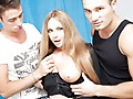 Three oversexed lads were bored as hell and wanted to fuck, so one of them went out to find some chick. What a surprise, a cute neighbor of his was walking in the park, and she agreed to have a cup of tea with him! Looks like this hot blondie will be the star of an amateur double penetration movie :) At first she didn't want to take part in real hard fuck, but did she have any choice? The horny guys got her naked in no time and made her do hard deep throat. Then it was time for real anal fucking, ...